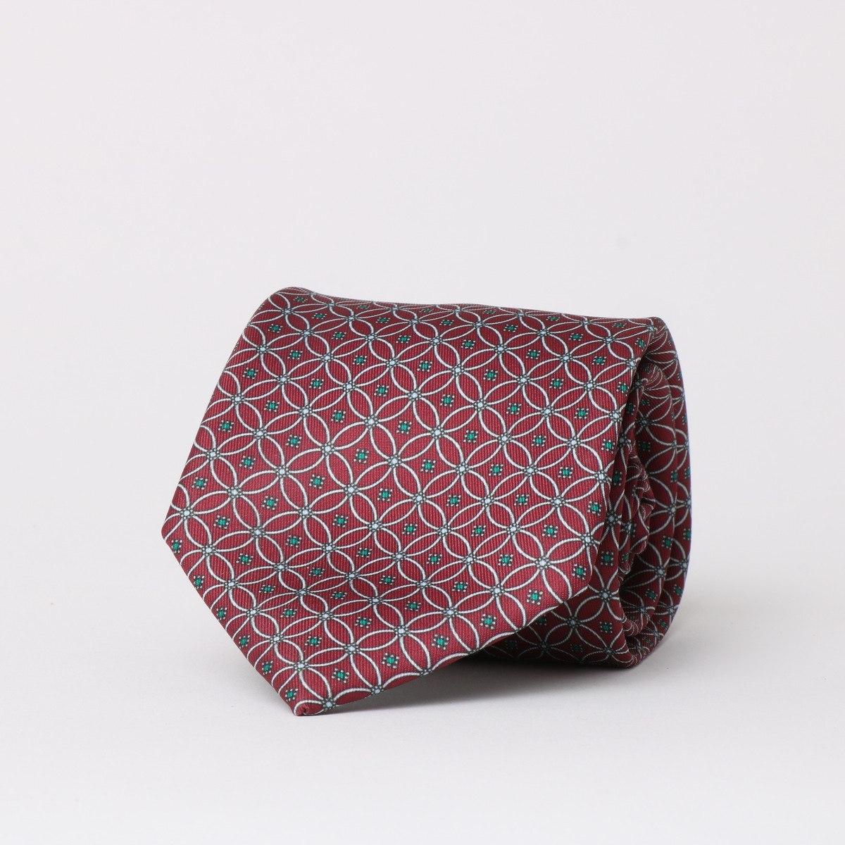 עניבה מודפסת בורדו גאומטרי