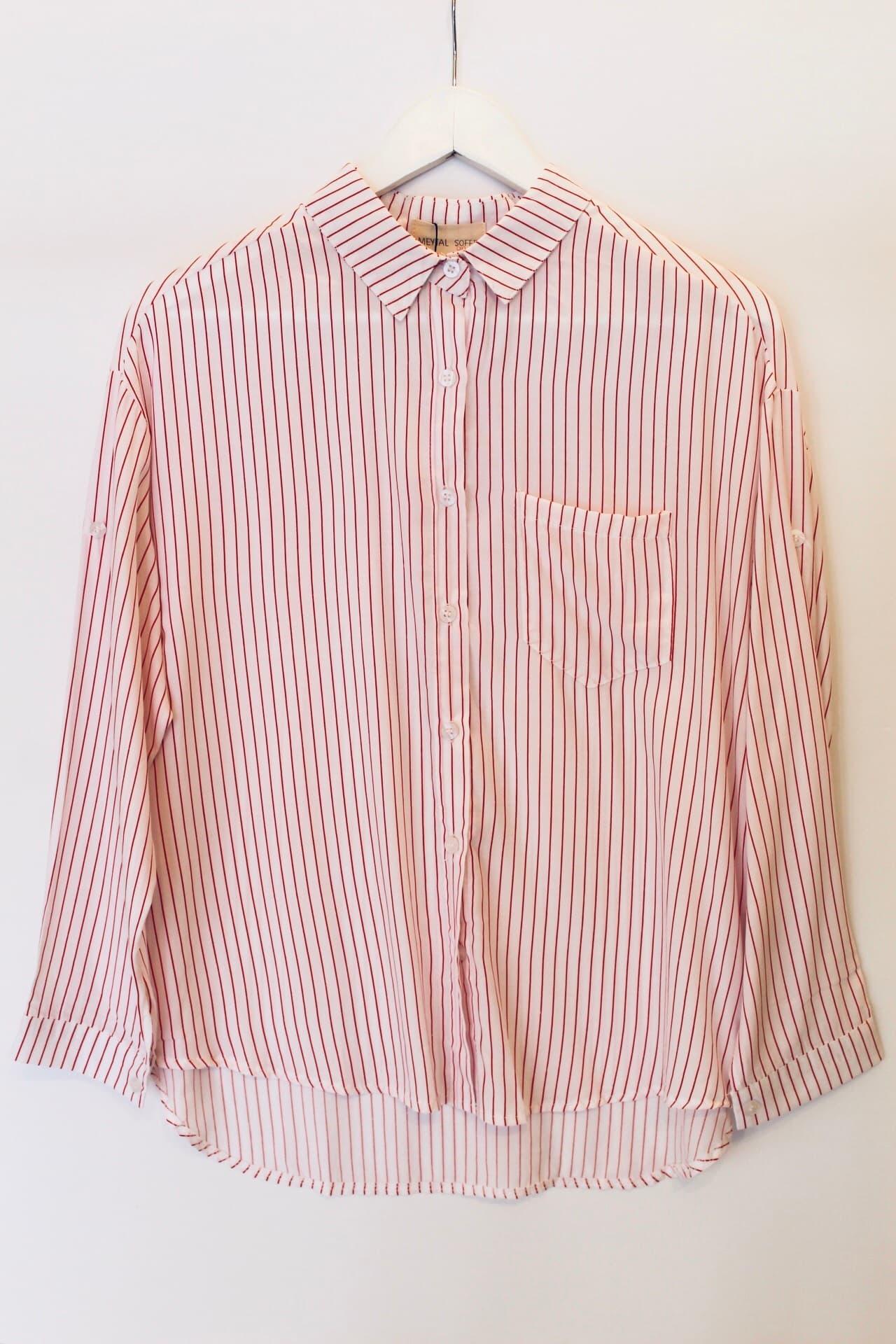 חולצת סטרייפ פסים אדומים