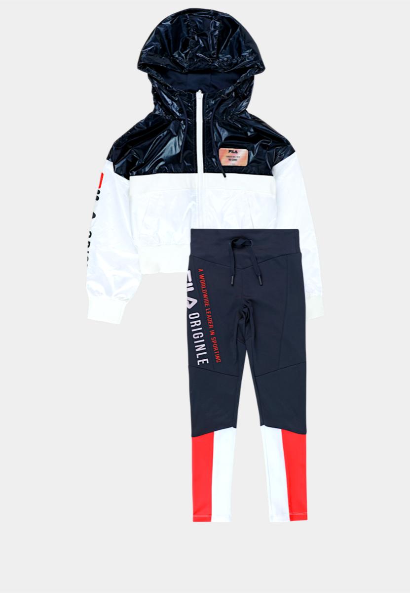 Fila חליפת ניילון עם טייץ לוגו אדום מידות 4-16