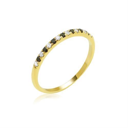 טבעת איטרניטי בזהב 14K משובצת יהלומים שחורים  ולבנים 0.21 קראט