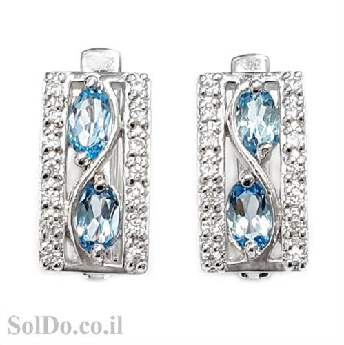 עגילים מכסף משובצים אבני טופז כחולות וזרקונים A8613 | תכשיטי כסף 925 | עגילי כסף