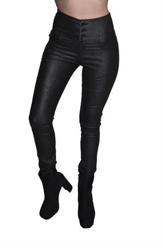 מכנס דמוי עור גבוה עם 3 כפתורים בצבע שחור שבור