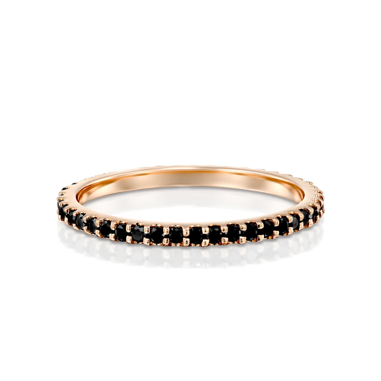 טבעת טניס זהב אדום 14 קראט משובצת יהלומים שחורים