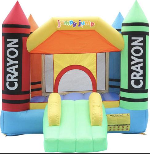 מתקן קפיצה מתנפח צבעי פנדה - D3628 - Crayon מבית Jumpy Jump העולמית