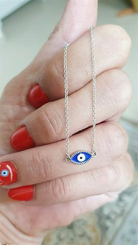 שרשרת עין כחולה קטנה מכסף