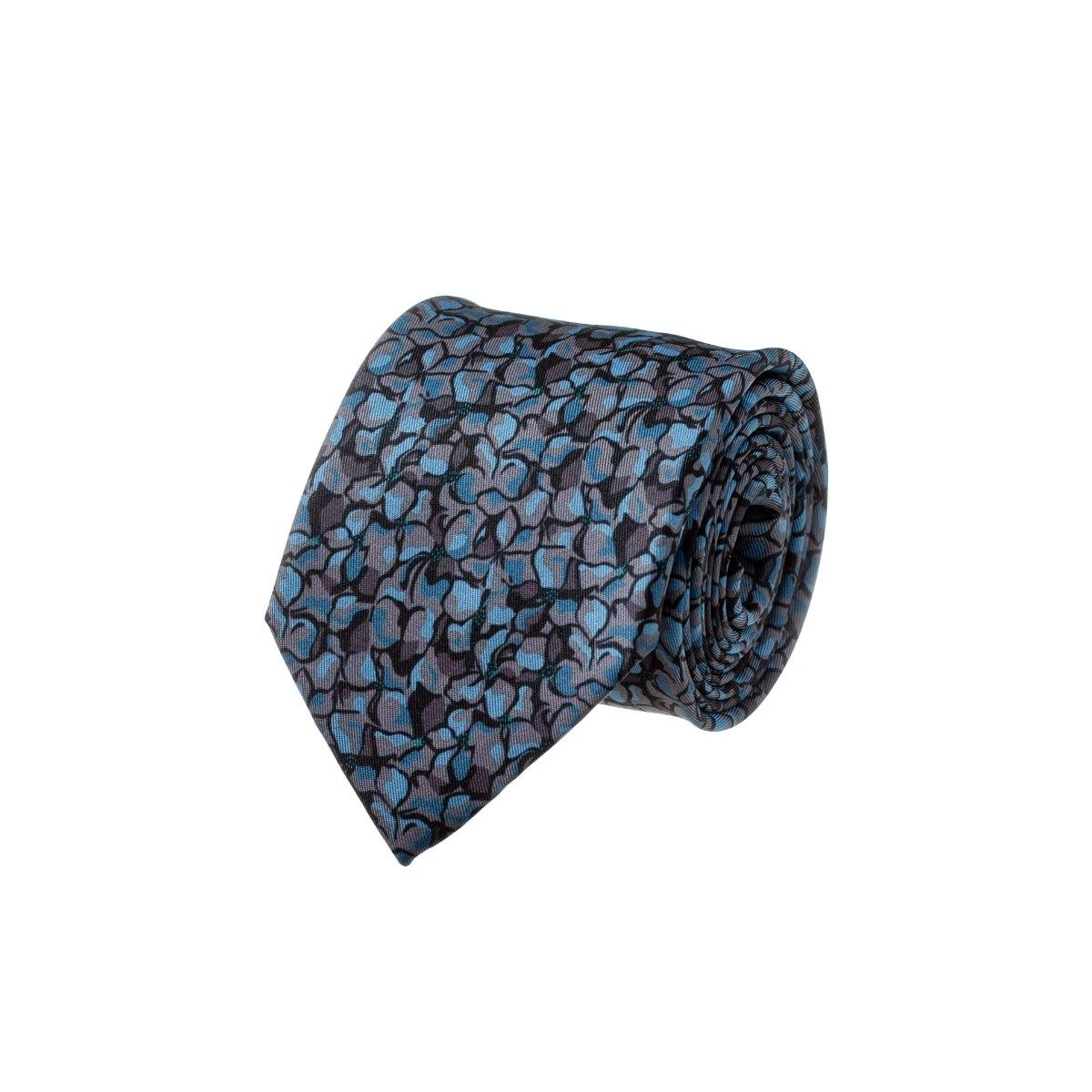 עניבה מודפסת כתמים טורקיז על אפור