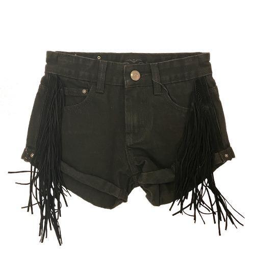 שורט ג׳ינס שחור פרנזים ORO