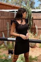 שמלת יולי כתפיות וולן שחורה