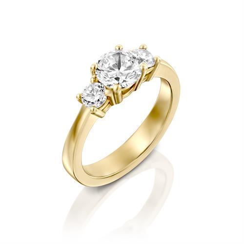 טבעת אירוסין זהב צהוב 14 קראט משובצת יהלומים THREE STONES