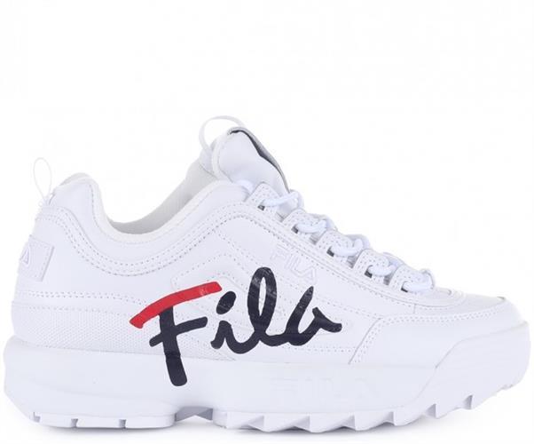 FILA נעלי ילדים פילה צבע לבן לוגו כחול אדום