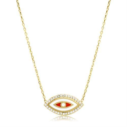 שרשרת עין זהב וזרקונים עם אמייל לבן ואדום