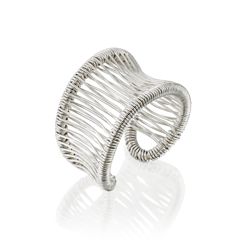 טבעת משי לבן חלקה