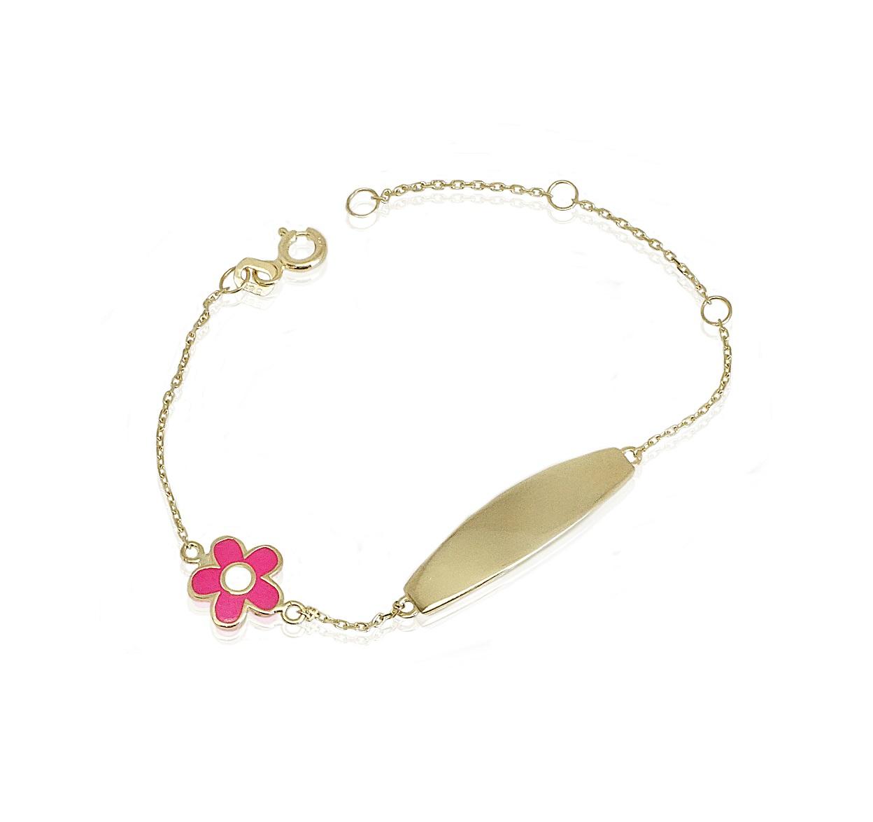 צמיד זהב עם חריטה לילדה|בצמיד פרח אמייל