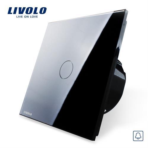 פעמון דלת מפסק טאצ' Livolo זכוכית קריסטלית שחור