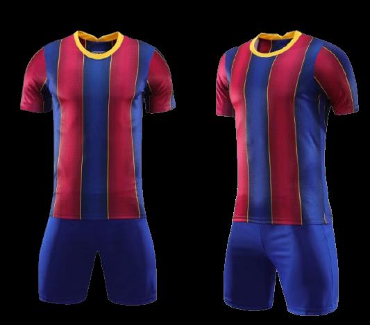תלבושת כדורגל אדום כחול דמוי ברצלונה (לוגו+ספונסר שלכם)