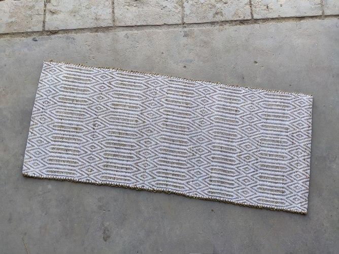 שטיח עשב ים  - עם דוגמה בלבן (ארוך)
