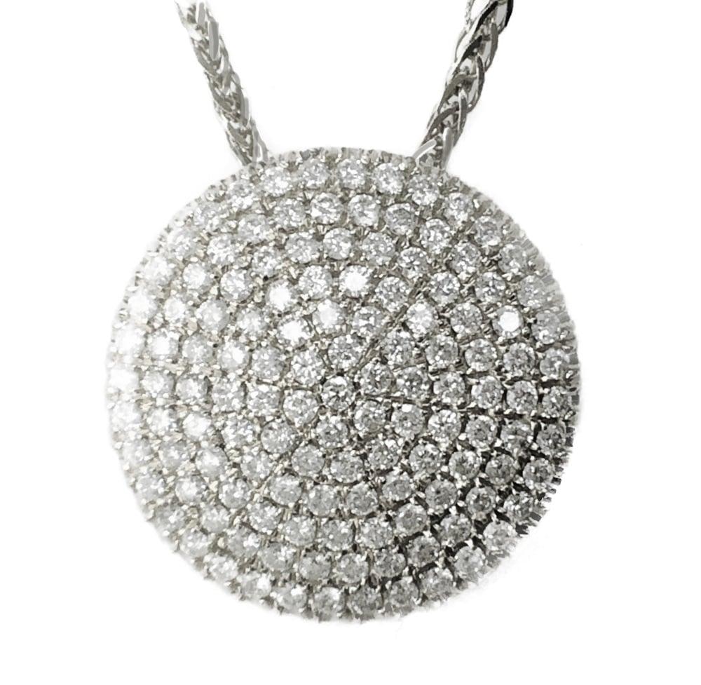 שרשרת ותליון בצורת עיגול זהב 14K משובץ יהלומים 2.18 קראט