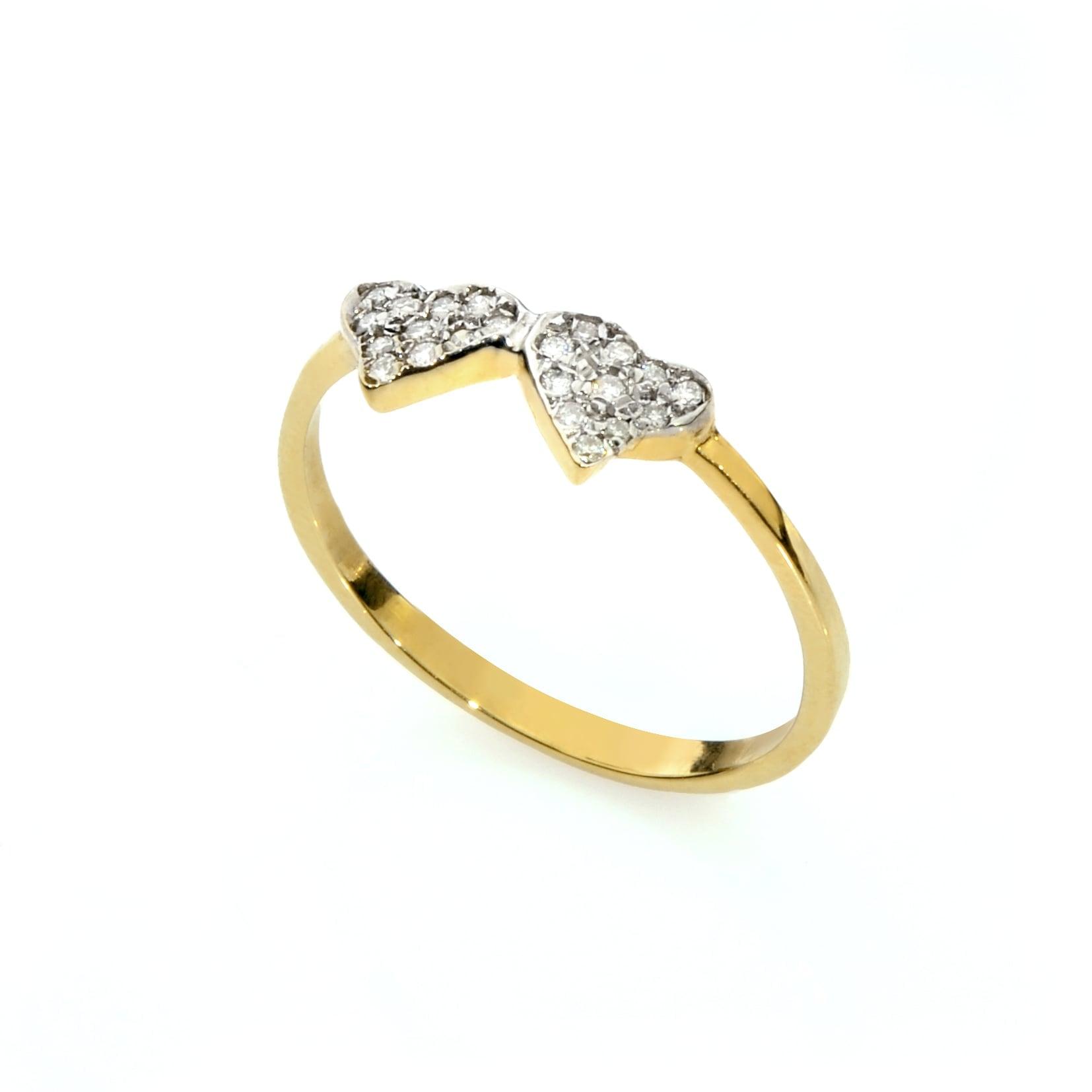 טבעת זהב 14 קרט שני לבבות  משובץ יהלומים 0.12 קראט