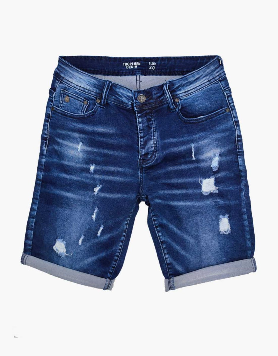 ג'ינס קצר כחול קרעים