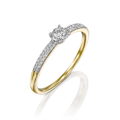 טבעת תפארת היהלום משובצת יהלומים בזהב לבן או צהוב 14 קראט