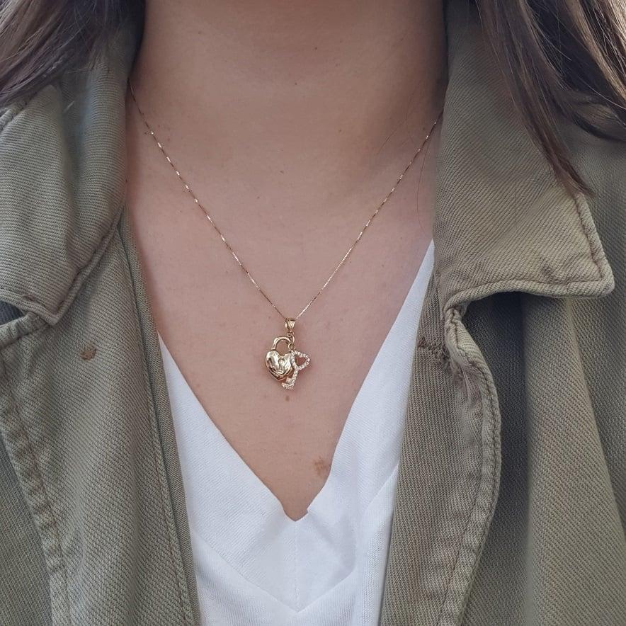 שרשרת זהב לב ומפתח זרקונים