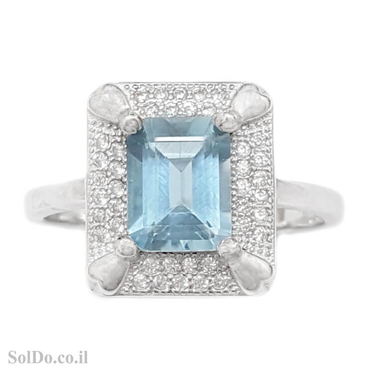 טבעת מכסף משובצת אבן טופז כחולה וזרקונים RG6071 | תכשיטי כסף 925 | טבעות כסף