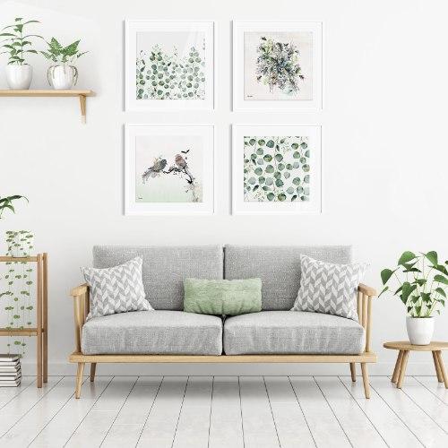 סט תמונות מינימלסטיות לסלון צבעי פסטל