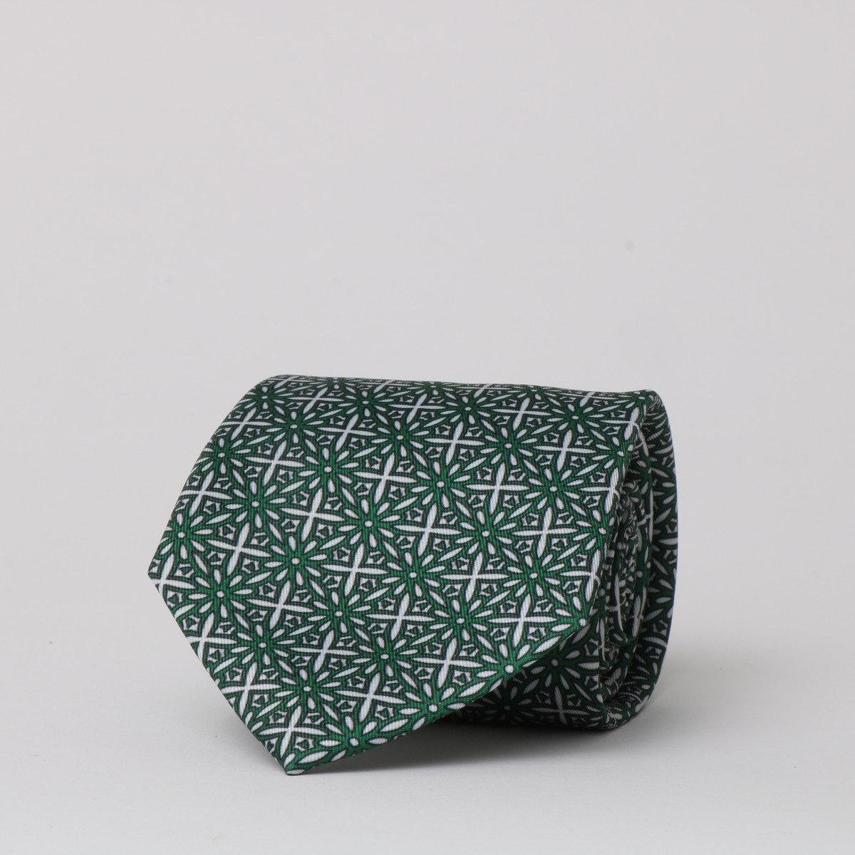 עניבה משי מודפס ירוק גאומטרי