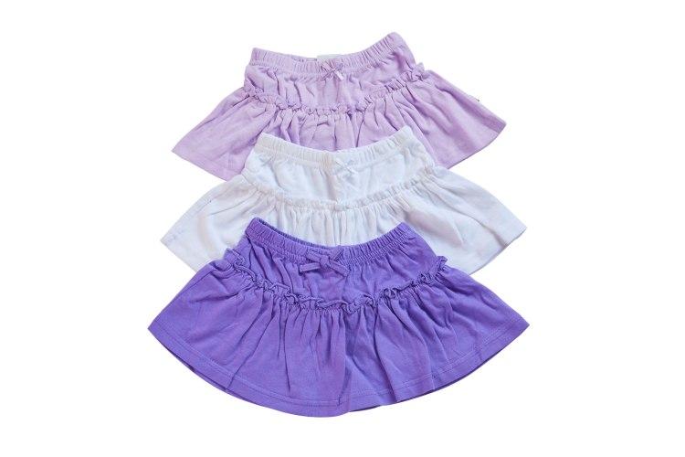 שלישיית חצאיות סגול לילך-לבן-סגול