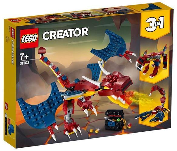 לגו CREATOR 3 ב- 1 דרקון יורק אש 31102