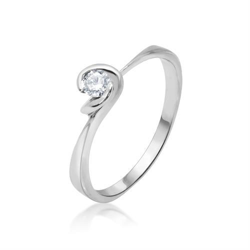 טבעת זהב לבן יהלום אירוסין 0.15 קרט