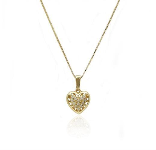 שרשרת ותליון לב משובץ יהלומים מעוטר