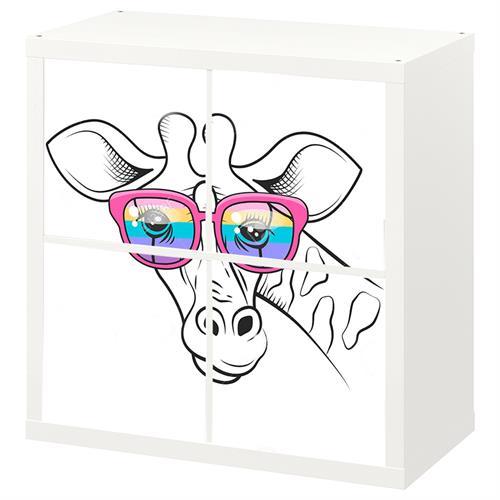 4 יח' טפט להדבקה על דלת כוורת (KALLAX)- ג'ירפה עם משקפיים