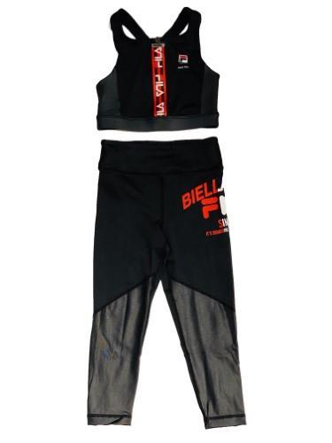 חליפת ספורט גוזייה וטייץ רשת שחור אדום - FILA - מידות 6-16 שנים