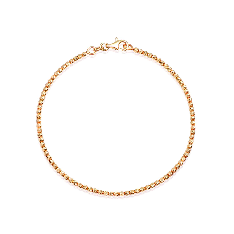 צמיד זהב אדום כדורי לאישה או נערה דק