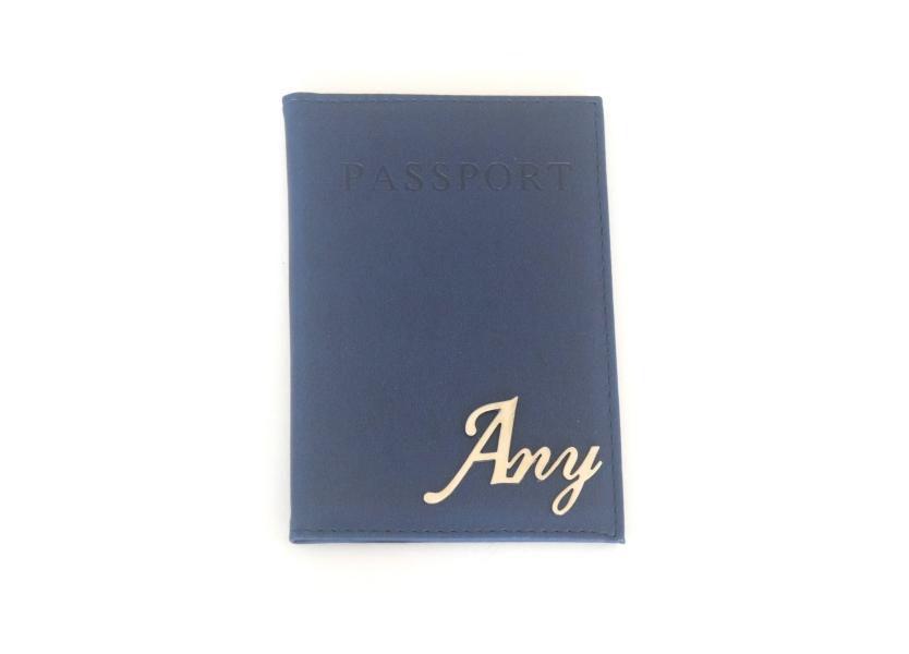 כיסוי לדרכון דמוי עור כחול נייבי