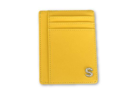 ארנק דמוי עור צהוב עם אות כסף משובצת