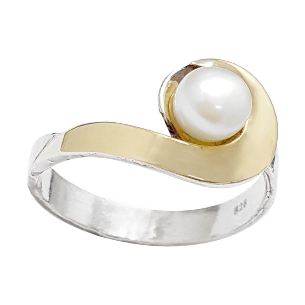 טבעת כסף מצופה זהב 9K משובצת פנינה לבנה  RG5968 | תכשיטי כסף | טבעות כסף