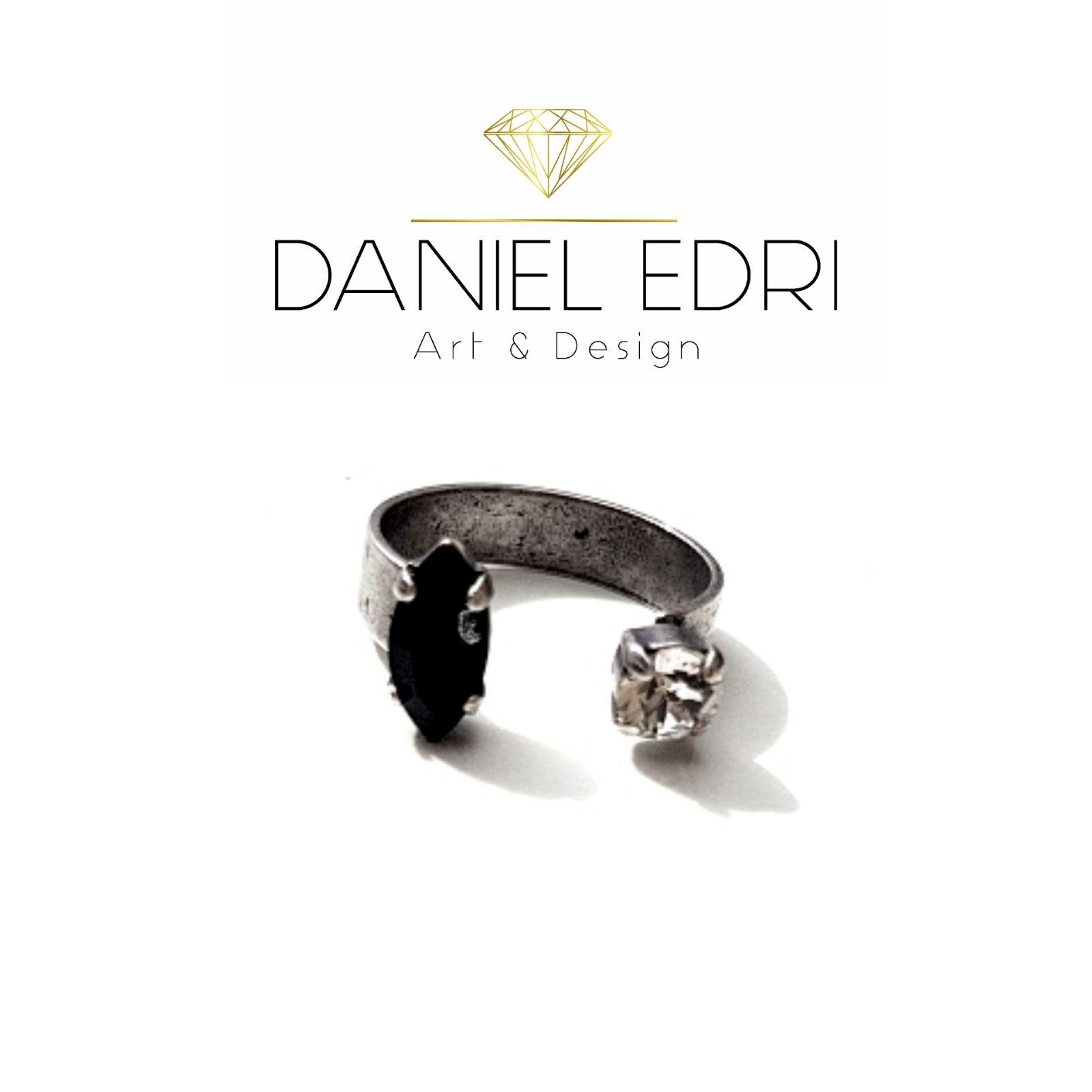 טבעת פתוחה קריסטל מרקיזות- שחור קריסטל