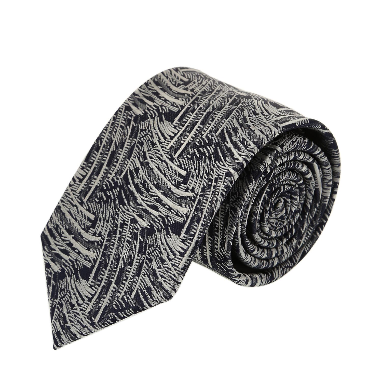 עניבה דגם עלים שחור לבן