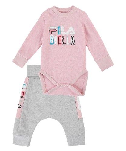חליפת תינוקות FILA ורוד/אפור/לוגו צבעוני  - מידות NB עד 12 חודשים