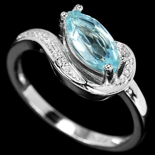 טבעת כסף משובצת טופז כחולה וזרקונים RG8357 | תכשיטי כסף 925 | טבעות כסף
