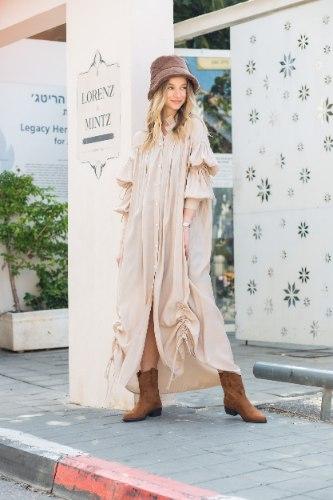 שמלת משי מקסי שילוב כיווץ בז'