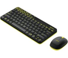 סט מקלדת ועכבר אלחוטיים Logitech MK240 Nano צבע שחור/צהוב
