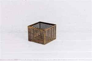 קופסה פתוחה / כלי ממתכת מרובע - זהב M