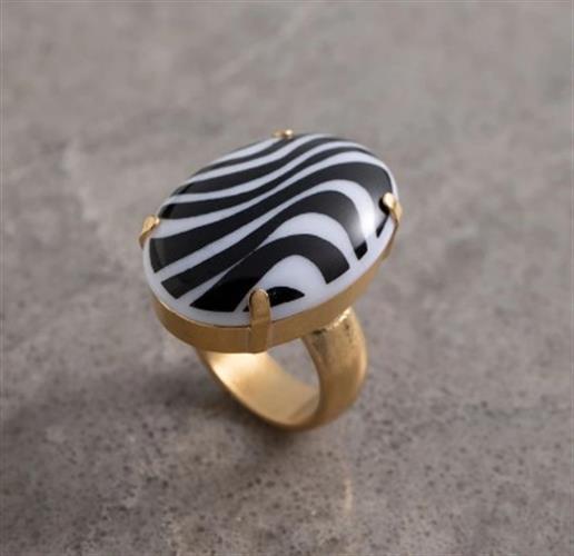טבעת DANON - לוסידה אובלית זברה