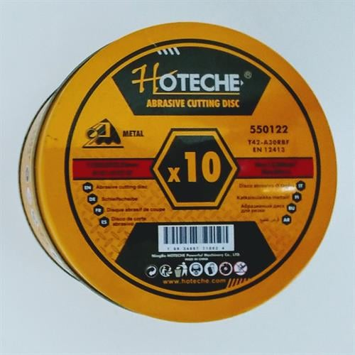 """10 דיסקים לחיתוך ברזל 115 מ""""מ מבית חברת HOTECHE"""