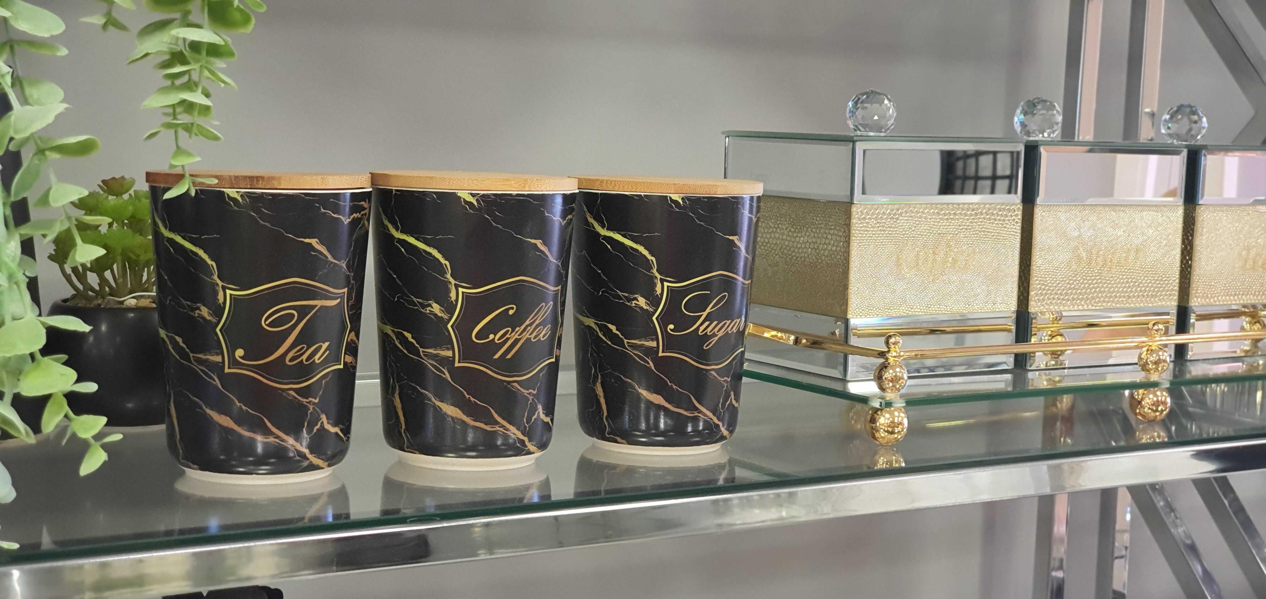 סט קפה דמוי שיש שחור מכסה עץ