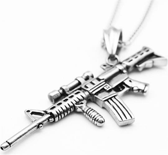 תליון פלדה גברים \ נשים דמוי נשק אוטומטי OP08170020MS-IN