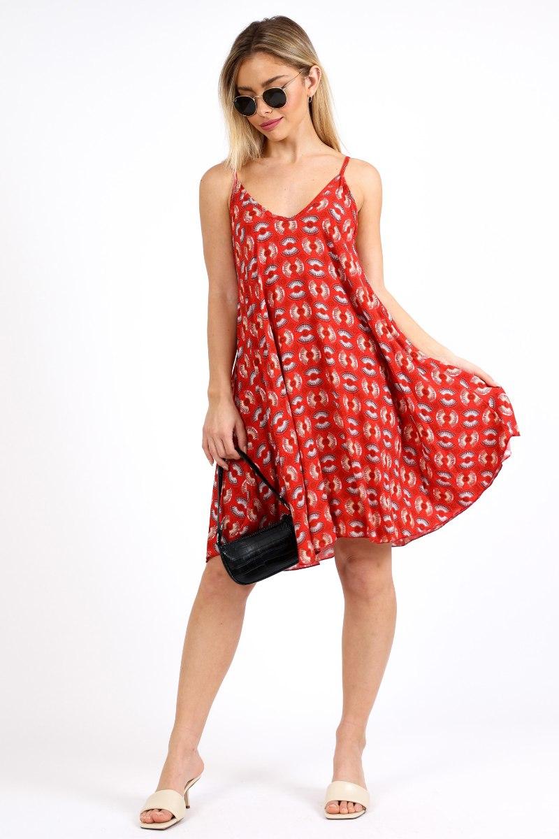 שמלת ויסקוזה אמי אדומה